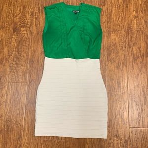 Express green and cream ribbed dress size small